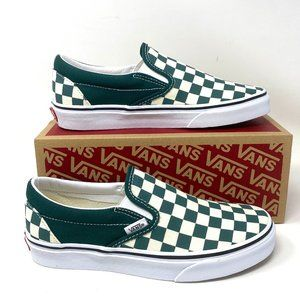 VANS  Classic Slip-On Checkerboard Green Canvas M